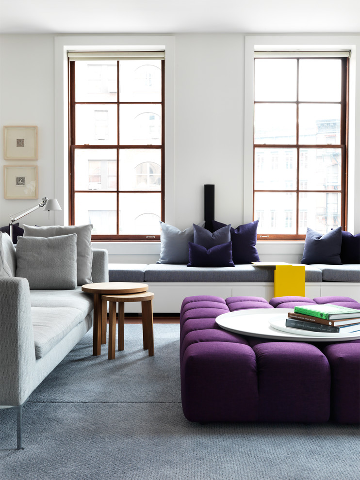 Example of a large trendy living room design in New York with white walls
