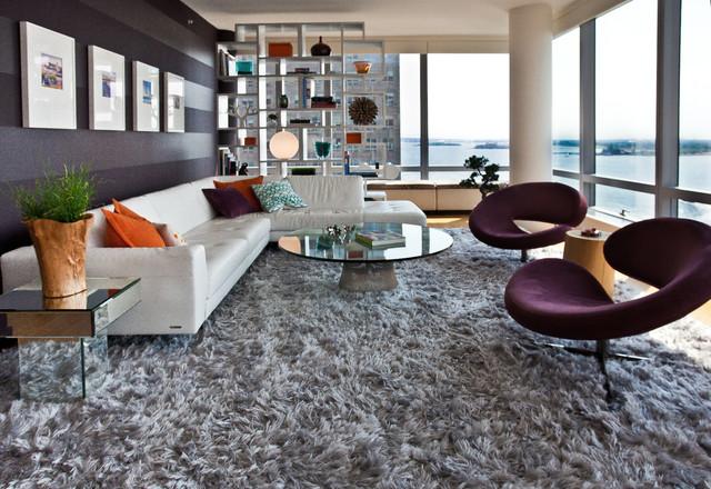 Tribeca River View Apartment Contemporary Living Room