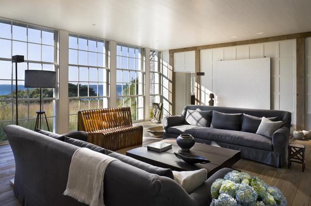 Triple Hung Windows beach-style-living-room