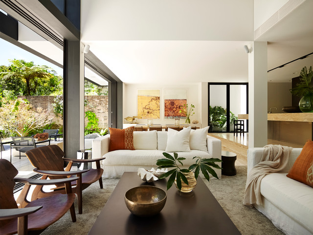 Tropical House Contemporary Living Room Sydney By