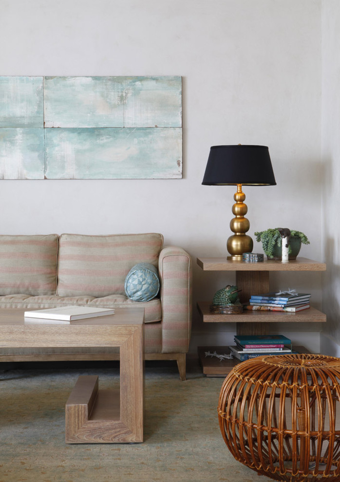 Island style living room photo in Hawaii with white walls