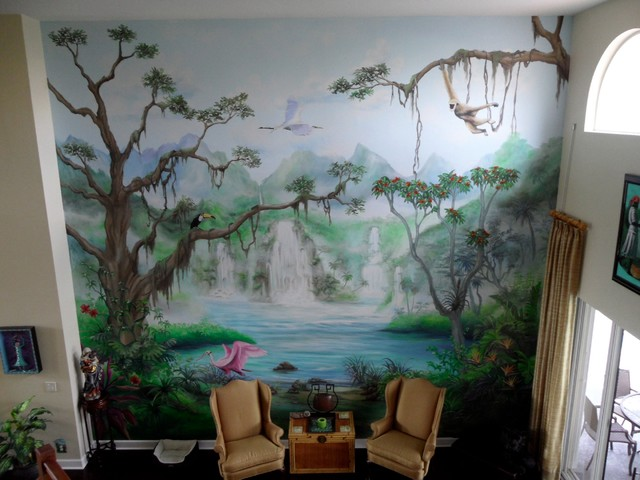 Tropical Rainforest Mural Tropical Living Room Other
