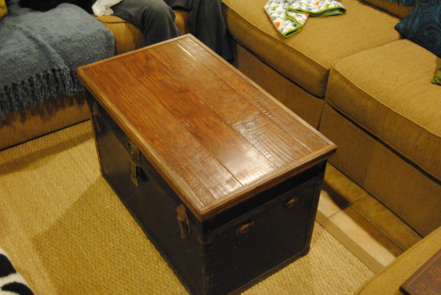 Trunk Chest Topper Made From Scrap Wood Floor Material Eclectic Living