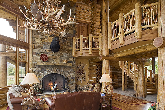 Tucker Ranch Custom Log Home Rustic Living Room