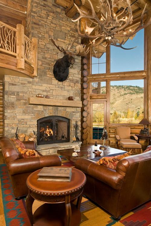 Big Log Cabin Living Rooms