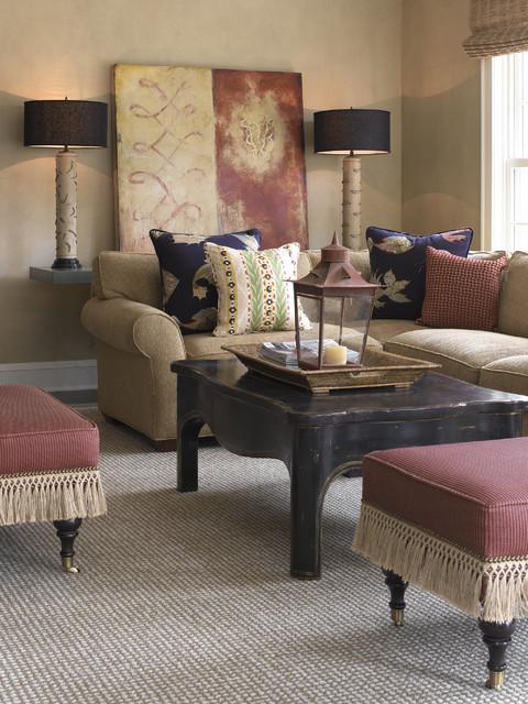 Tudor Revival transitional-living-room