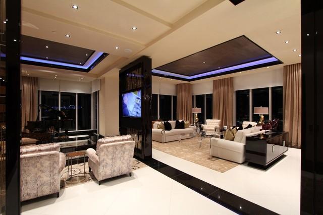 Elegant Turn It All Around   4K TV Built Into Rotating Glass Frame Contemporary  Living