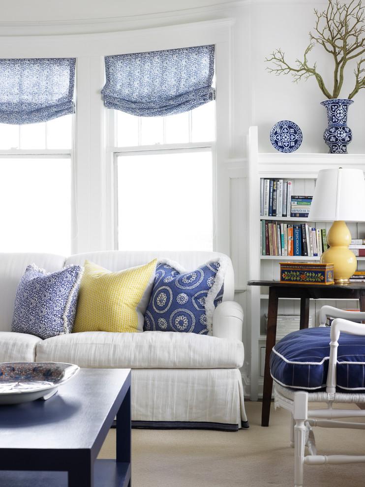 Living room - coastal living room idea in Chicago