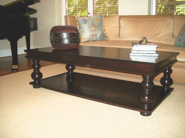 Turned Leg Coffee Table Mediterranean Living Room