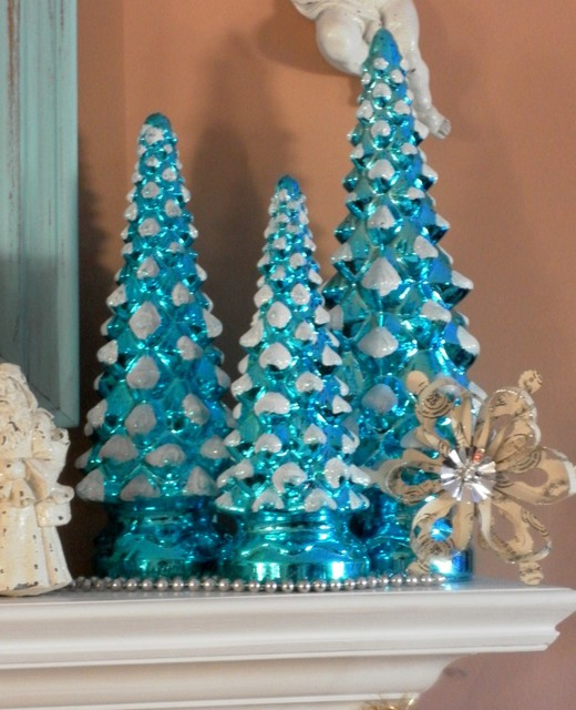 turquoise blue mercury glass christmas trees traditional living room - Mercury Glass Christmas Trees
