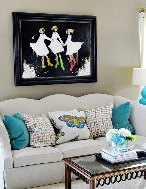 Turquoise Family Room Redesign living-room