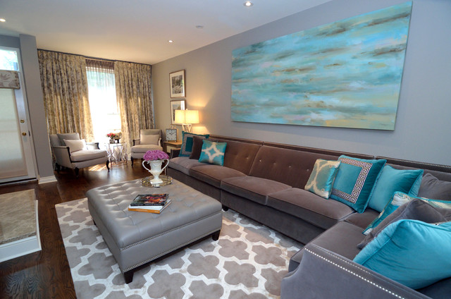 gray and turquoise living room decorating ideas. Inspiration for a large transitional formal and open concept dark wood  floor living room remodel in Turquoise Living Room Houzz