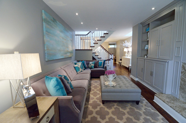 Turquoise Living Room - Transitional - Living Room - Toronto ...