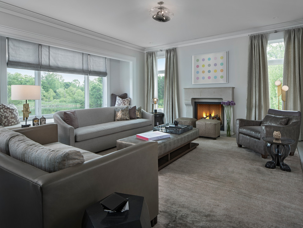 Inspiration for a transitional living room remodel in Detroit