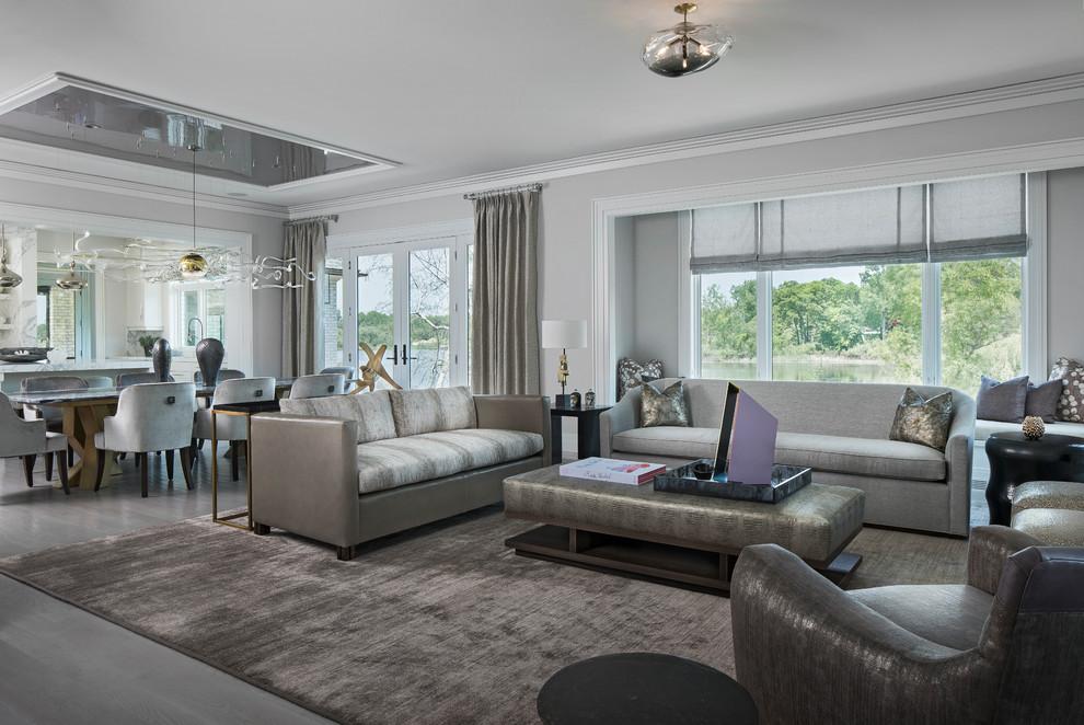Living room - transitional living room idea in Detroit