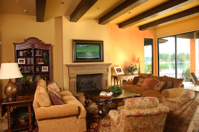 Tuscan Kitchen Traditional Living Room