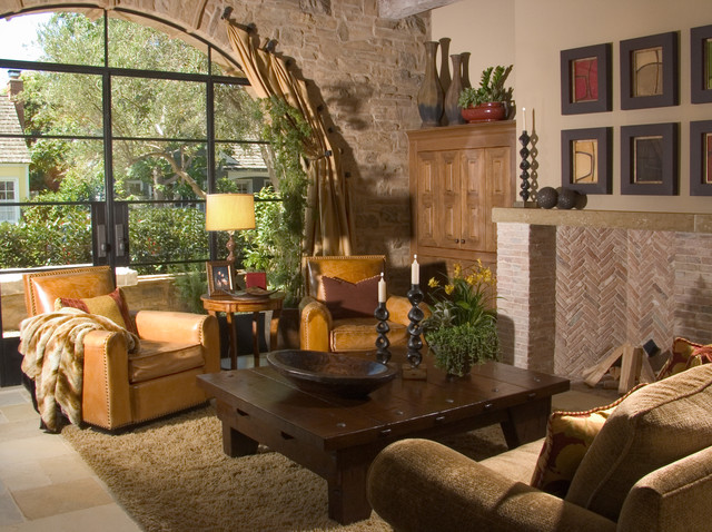 Tuscan Living Room Stone Accent Wall Mediterranean