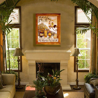 Tuscan Painting Over Fireplace Mediterranean Living Room Part 83