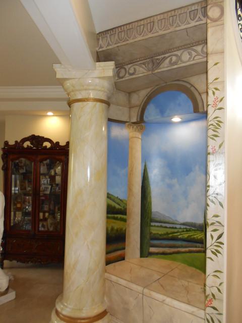 Tuscany Murals mediterranean-living-room