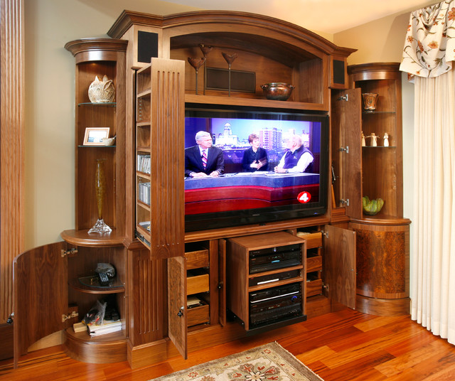 TV and media wall unit - Traditional - Living Room - New York - by Essential Home Artisans ...