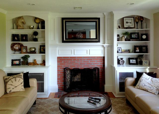 Exceptional Elegant Carpeted Living Room Photo In Boston With White Walls, A Standard  Fireplace, A