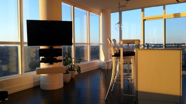 Tv on concrete pillar in condo contemporary living for Pillar in living room