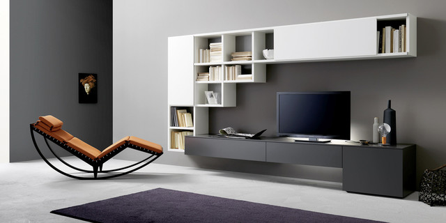 Tv Unit And Bookcase Sangiacomo Italy Modern Home Theater Boston By Il Decor