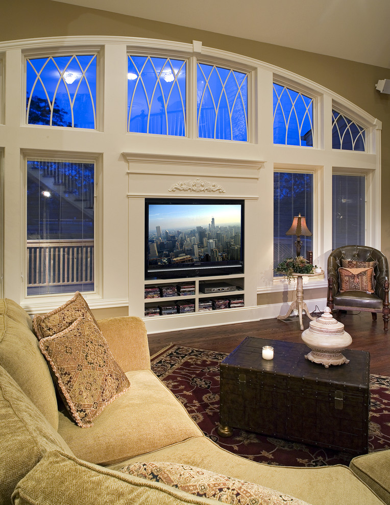Inspiration for a timeless living room remodel in Chicago with green walls