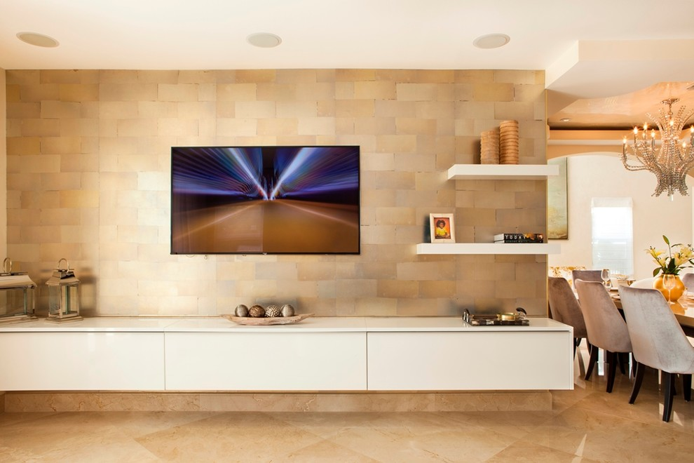 Tv Wall Unit Entertainment Center Media Storage Modern Living Room Miami By Da Vinci Designs Cabinetry