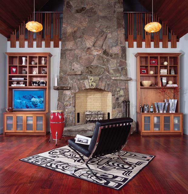 Twin mahogany wall units rustic living room new york for Mahogany living room ideas