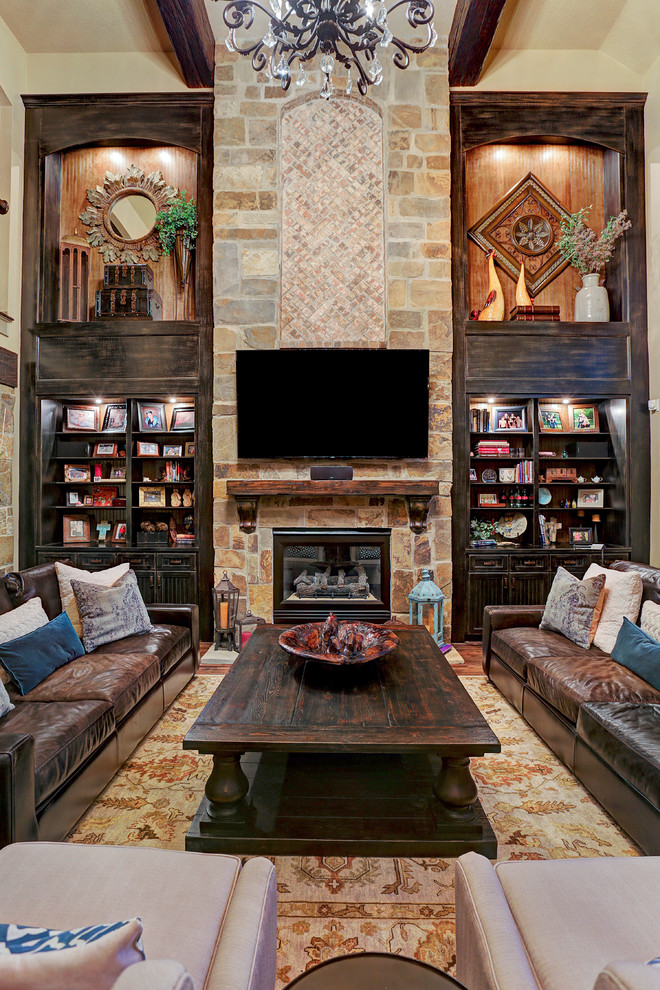 Example of a mountain style living room design in Houston