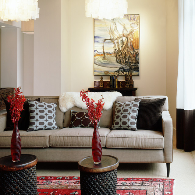 Two Gorgeous Side Tables Act As A Coffee Table In This Funky Living Room Eclectic