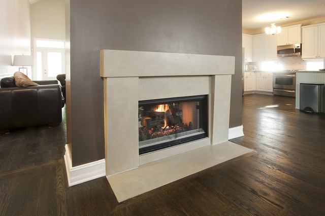 two sided concrete fireplace surround contemporary