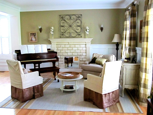 Two story cottage eclectic living room charlotte for Piano room decor