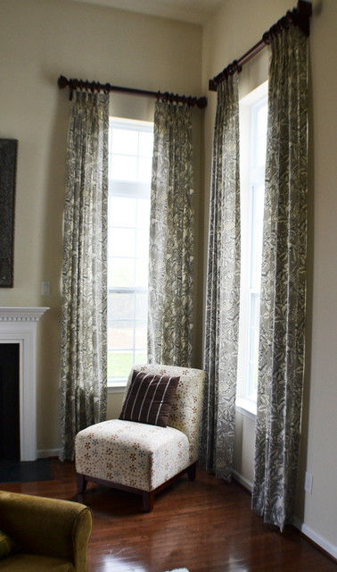 Two Story Drapes With Decorative Wood Poles Contemporary Living Room Philadelphia By