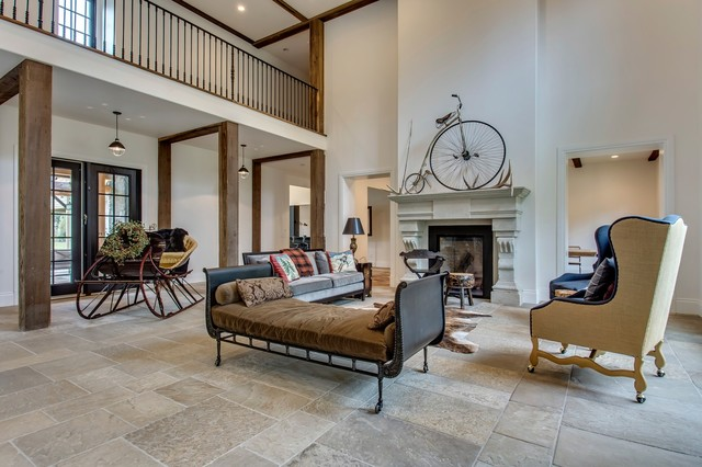 Two Story Living Room With Mezzanine