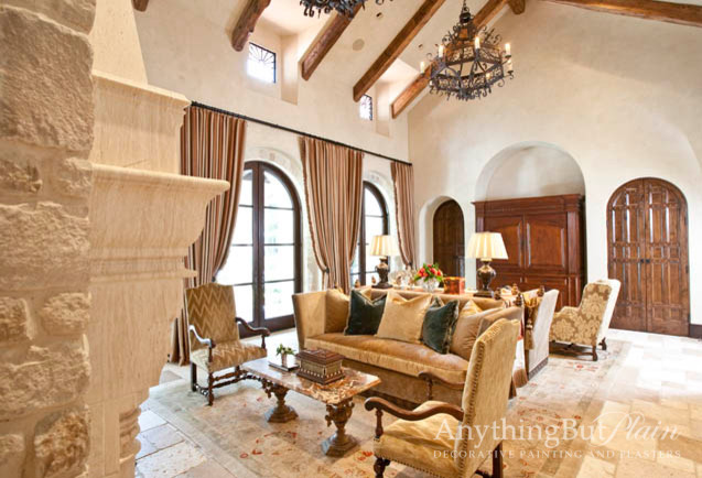 Two Story Living Space Mediterranean Living Room