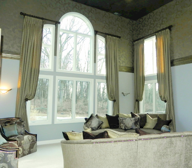 Two story rooms traditional living room detroit by susan s