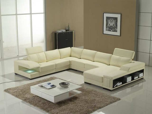 UShape Sectional with Storage Shelves Modern Living Room