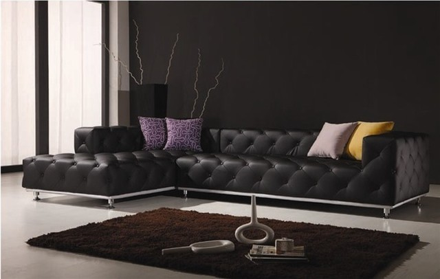 Ubrich tufted leather sectional sofa contemporary - Houzz living rooms with sectionals ...
