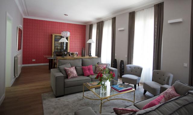 Un piso con mucho color shabby chic rom ntico sal n - Combinar color granate paredes ...
