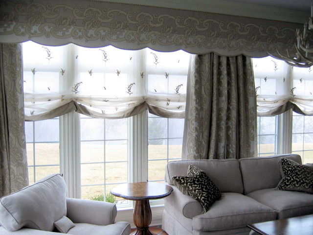 Unique window treatments march 2013 traditional - Living room picture window treatments ...