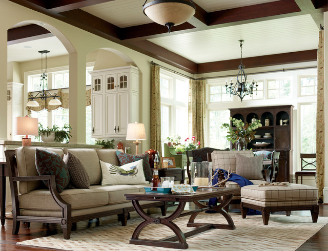 Updated Cottage-style Living room with Fret Back Sofa - Rustic ...