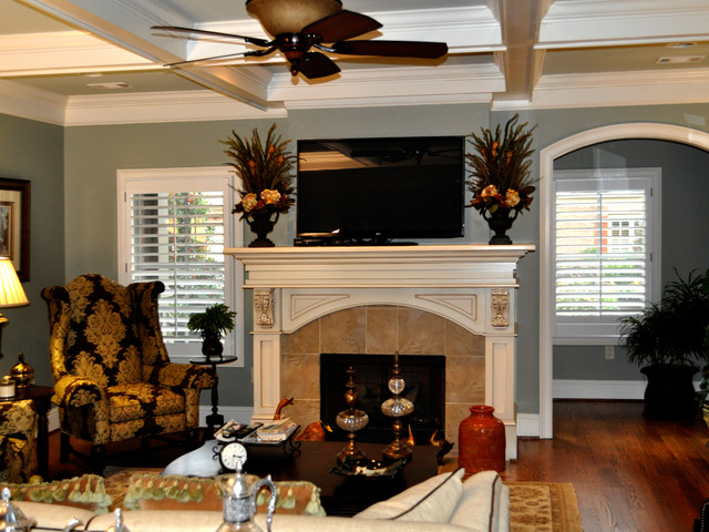 Updated Interior Living Room Dining Kitchen With Faux Painted Cabinets Traditional