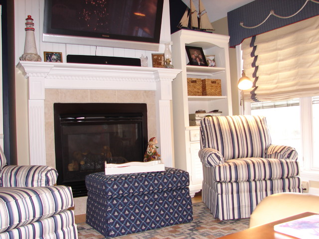 Updated Nautical Living & Dining area traditional-living-room