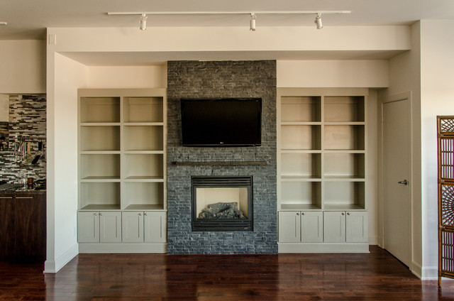 Upper Beaches Condo Built In Bookcase Traditional Living Room
