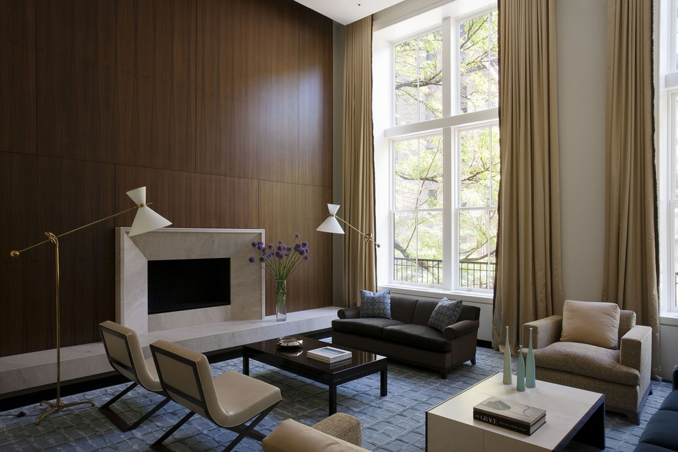 Trendy living room photo in New York with a standard fireplace and no tv