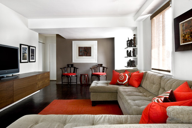 Upper east side family friendly condo contemporary for Living room decorating ideas nyc