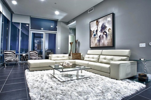 Upper Kirby Highrise Condo Contemporary Living Room