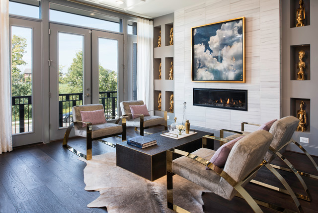Inspiration for a transitional dark wood floor and brown floor living room remodel in DC Metro with gray walls, a ribbon fireplace and a tile fireplace